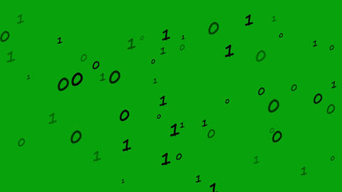 Binary digits motion graphics with green screen background Animation