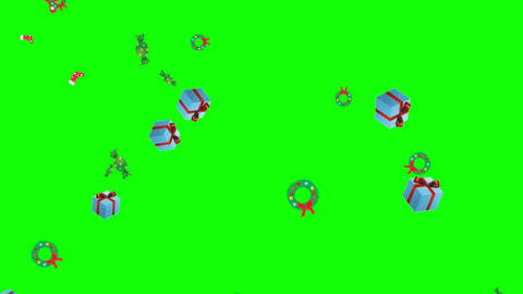 Falling gifts and ornaments with green screen background Animation