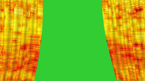 Golden curtain opening with green screen background Animation