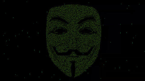 Matrix code in the shape of hacker Animation