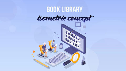 Book Library - Isometric Concept After Effects Template