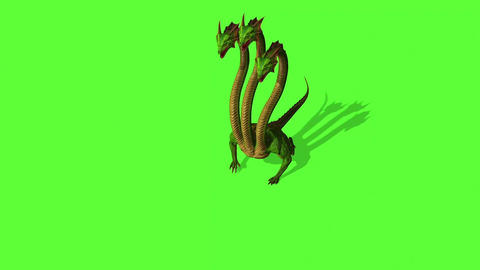Hydra Mystical Water Snake Roars On Green Screen Background Animation