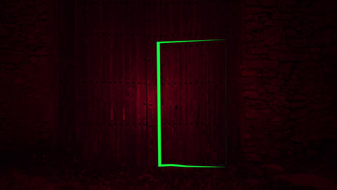 Animation - wooden door opening to green screen background Animation
