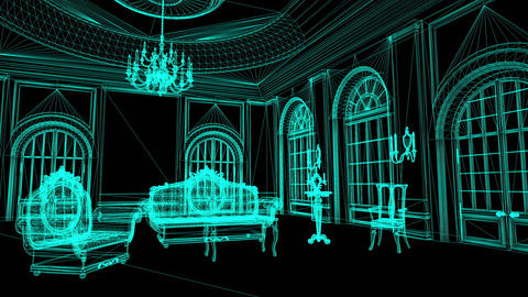 animation of Wireframe Model Of Pompous Palace With Columns Animation