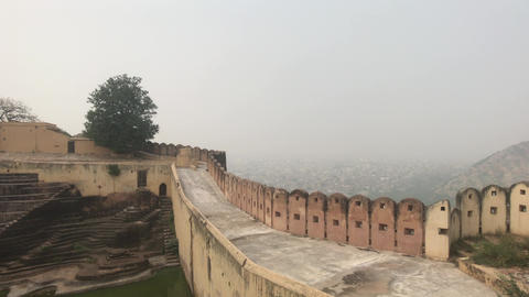 Jaipur, India - defensive structures on a high mountain Live Action