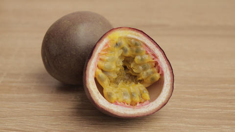 Close-up of one and a half passion fruits Live Action