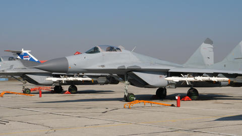 New Mikoyan MiG 29 Fulcrum Donated by Russia to Serbia at Belgrade Airport Live Action