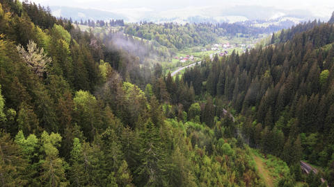 Ukraine, Carpathian Mountains: Village in the Mountains. Aerial Live Action
