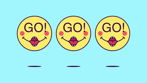 3 jumping emoji faces with phrase Go. Emoticon with text Go Animation