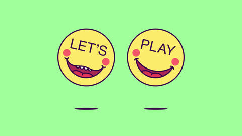 2 jumping emoji faces with phrase Lets Play. Gaming emoticon with text Lets Play Animation