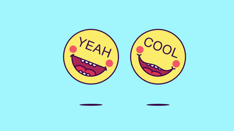 2 jumping emoji faces with phrase Yeah Cool. Funny emoticon with text Yeah Cool Animation