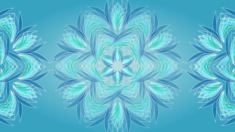 Magic star shape patterns in blue and green colors in tunnel motion, object on Animation