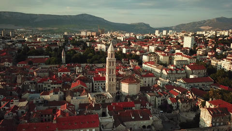 Aerial View of Split, Croatia. Adriatic City Landmark Roman Catholic Cathedral Live Action