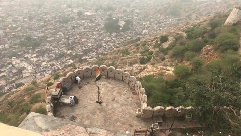 Jaipur, India - View from above the old historic fortress part 16 Live Action