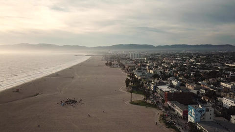 Venice Beach, Los Angeles, California. Cinematic Aerial View on Sunset Sunlight Live Action