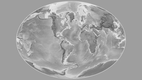 Cape Verde - hub of the world. Grayscale Animation