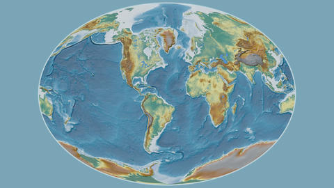 Cape Verde - hub of the world. Relief Animation