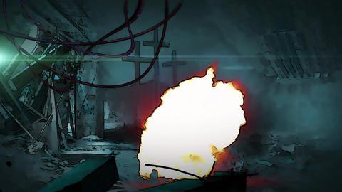 Animation in cartoon style Of Radioactive Zone - Post Apocalyptic Scene Animation