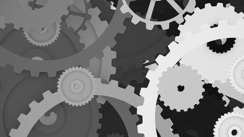 3d black and white cogwheels mechanism looping background Animation