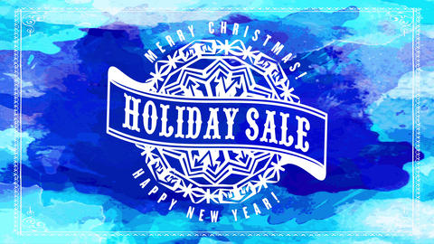 holiday sale big lettering inside ribbon on embroidered snowflake graphic with merry christmas happy Animation