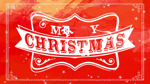 merry christmas writing with white wilderness west emblem over colourful red dye brushed background Animation