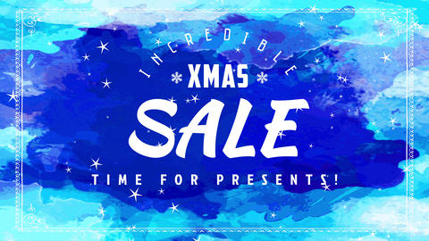 wonderful xmas trading discount occasion poster with several shades of blue scene splashed on Animation
