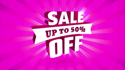 50 percent off sale publicity with big 3d metallic lettering with ribbon over brilliant fuchsia Animation
