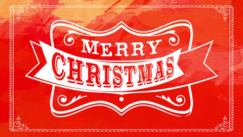 merry christmas lettering with white wild west emblem over vivid red paint brushed background with Animation