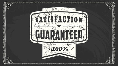 100 percent satisfaction guaranteed sign on wholesale industrial product with white vintage worn Animation
