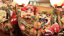 Osaka, JP - January 24, 2015: The Seven Gods of Fortune (Shichi Fukujin) are dis Footage