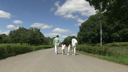 Japanese family walking in a park Footage