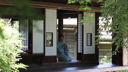 Mature Japanese woman in a kimono drinking tea in a traditional house Footage