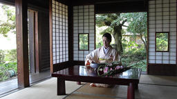 Mature Japanese woman in a kimono doing ikebana in a traditional house Footage
