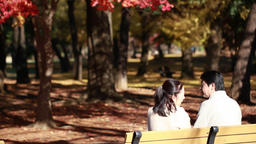 Japanese mature couple relaxing on a bench in a city park in Autumn Footage