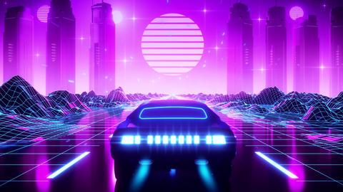 3D Retro Synthwave Landscape VJ Loop Motion Background Animation