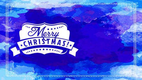 merry xmas greeting cardboard with fun white seal with winter decoration over different shades of Animation