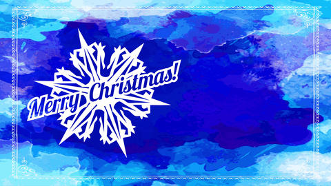 merry xmas written on top of white thick peripheral flake over blue watercolor ripple on background Animation