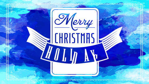 winter holidays merry christmas greeting card with white squared emblem with winged ribbon over blue Animation
