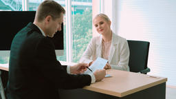 Job seeker in job interview meeting with manager Live Action