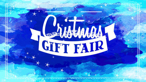 white xmas present fair with white offset decorated with papercut garland over blue watercolour Animation