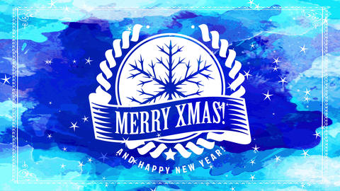 merry xmas joyous reception postcard with white oval insignia with abstraction flake design on scene Animation