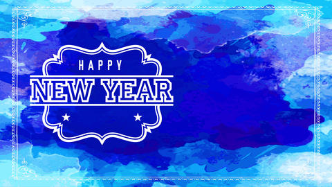 laughing new year midnight party invitation with old make offset on white symbol over blue Animation