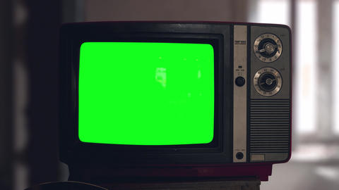 Switch on tuning an old tube vintage TV set than switch off. Wooden style retro Animation