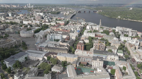View of Kyiv from above. Ukraine. Aerial view, gray, flat Live Action