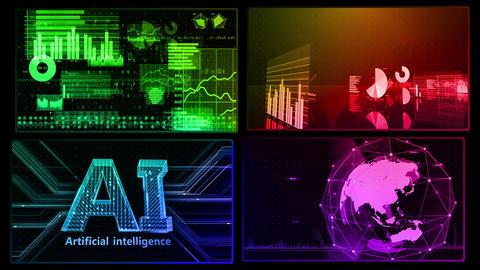 Digital Network Technology AI artificial intelligence data concepts Background D 1 2x2 C rainbow Fix Animation
