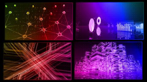 Digital Network Technology AI artificial intelligence data concepts Background D 1 2x2 D rainbow Fix CG動画