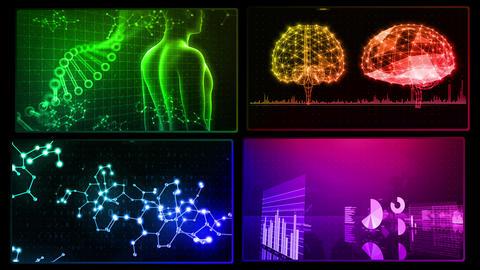Digital Network Technology AI artificial intelligence data concepts Background D 1 2x2 O rainbow Fix CG動画