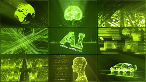 Digital Network Technology AI artificial intelligence data concepts Background D 1 3x3 A blue Fix Animation