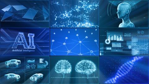 Digital Network Technology AI artificial intelligence data concepts Background D 1 3x3 C blue Fix Animation