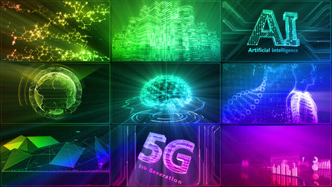 Digital Network Technology AI artificial intelligence data concepts Background D 1 3x3 G rainbow Fix Animation